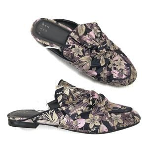 ⚜️NEW Floral Brocade Bow Flat Slip On Mules Size 8